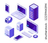 mobile devices isometric set.... | Shutterstock .eps vector #1225944394