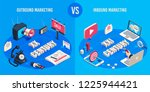 outbound and inbound marketing. ... | Shutterstock .eps vector #1225944421