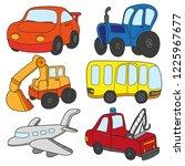 cartoon cars collection.... | Shutterstock .eps vector #1225967677
