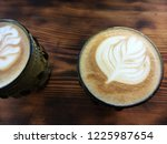 two cups with cappuccino....   Shutterstock . vector #1225987654