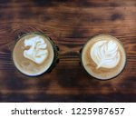 two cups with cappuccino....   Shutterstock . vector #1225987657