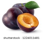 Isolated Plums. Two Whole And ...