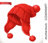 winter clothes. knitted cap 3d... | Shutterstock .eps vector #1226040697