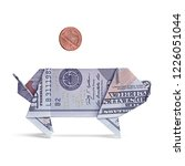 dollar origami pig with one...   Shutterstock . vector #1226051044