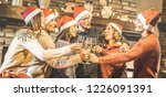 friends group with santa hats... | Shutterstock . vector #1226091391