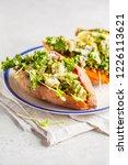quinoa stuffed sweet potatoes... | Shutterstock . vector #1226113621
