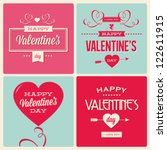 happy valentines day cards with ornaments, hearts, ribbon, angel and arrow | Shutterstock vector #122611915