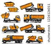 hook lift trucks set. hand... | Shutterstock .eps vector #1226126011