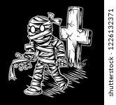 walking black and white mummy... | Shutterstock .eps vector #1226132371
