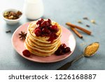 homemade fluffy pancakes with... | Shutterstock . vector #1226168887