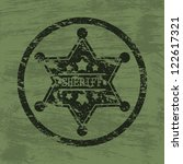 grunge background with sheriff...   Shutterstock .eps vector #122617321