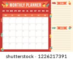 autumn monthly planner with... | Shutterstock .eps vector #1226217391