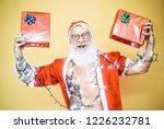 happy tattoo hipster santa...   Shutterstock . vector #1226232781