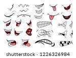 cartoon mouth set. tongue ... | Shutterstock .eps vector #1226326984