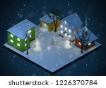 christmas night color houses... | Shutterstock . vector #1226370784