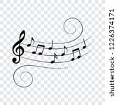 music notes on wavy stave ... | Shutterstock .eps vector #1226374171
