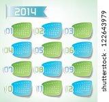 2014 yearly calendar. sticker... | Shutterstock .eps vector #122643979
