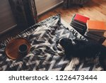 cozy winter home with dog... | Shutterstock . vector #1226473444