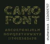 camo stencil alphabet font.... | Shutterstock .eps vector #1226505757