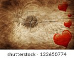 Love Symbol On Old Wooden Wall...