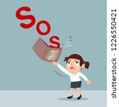 sad businesswoman sos signal... | Shutterstock .eps vector #1226550421
