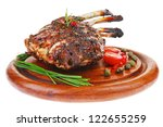grilled ribs with vegetables on ... | Shutterstock . vector #122655259