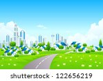 green landscape with road ... | Shutterstock .eps vector #122656219