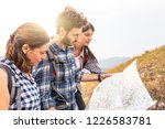 group of people hiking and... | Shutterstock . vector #1226583781