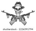 gangster skull tattoo. death... | Shutterstock .eps vector #1226591794