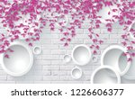 3d pink leaves on bricks... | Shutterstock . vector #1226606377