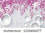 3d pink leaves on bricks...   Shutterstock . vector #1226606377