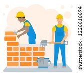 flat illustration of builders.... | Shutterstock . vector #1226616694