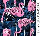 seamless pattern. pink flamingo ... | Shutterstock .eps vector #1226659681