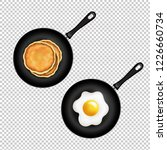 pan with pancake and fried eggs ... | Shutterstock . vector #1226660734