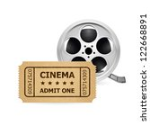 retro cinema ticket and film... | Shutterstock .eps vector #122668891