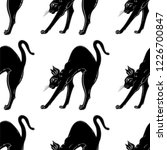 black cat with arched back... | Shutterstock .eps vector #1226700847