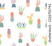 seamless vector pattern. cactus ... | Shutterstock .eps vector #1226701741