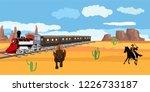 wild west theme  cowboy  bison  ... | Shutterstock .eps vector #1226733187