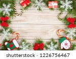 christmas frame made of fir... | Shutterstock . vector #1226756467