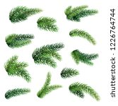 set of fir branches isolated on ... | Shutterstock .eps vector #1226764744