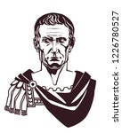 Julius Caesar Roman emperor bust front view vector illustration