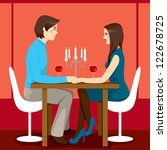 young adult couple drinking red ... | Shutterstock . vector #122678725