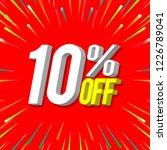 sale banner red 10  off. 3d... | Shutterstock .eps vector #1226789041
