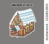 ginger bread house. sticker....   Shutterstock .eps vector #1226812831