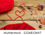 red knitting wool  knitting... | Shutterstock . vector #1226813647
