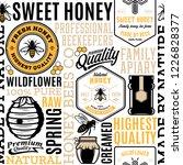 honey seamless pattern  logo... | Shutterstock .eps vector #1226828377