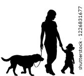 silhouettes of woman with kid... | Shutterstock . vector #1226831677