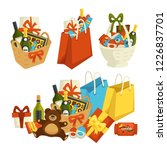 gift basket with food  special... | Shutterstock .eps vector #1226837701