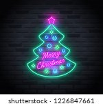 neon sign of christmas tree and ... | Shutterstock .eps vector #1226847661