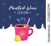 mulled wine hot winter drink.... | Shutterstock .eps vector #1226851594